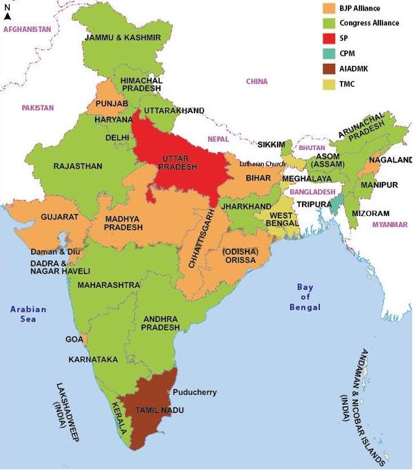 Map of Rulling Parties of Indian States