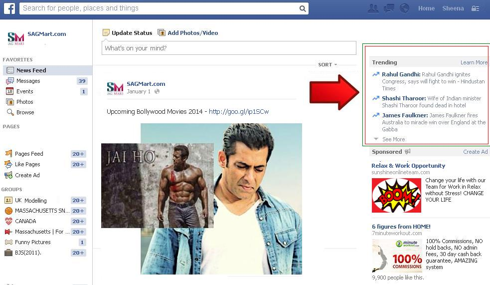 Displaying Facebook Trending Option on your Profile