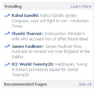 Facebook Trending Option