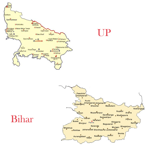 up and bihar map