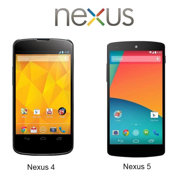 google nexus 4 and 5