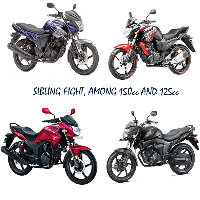 sibling fight among 150cc and 125cc motorbikes