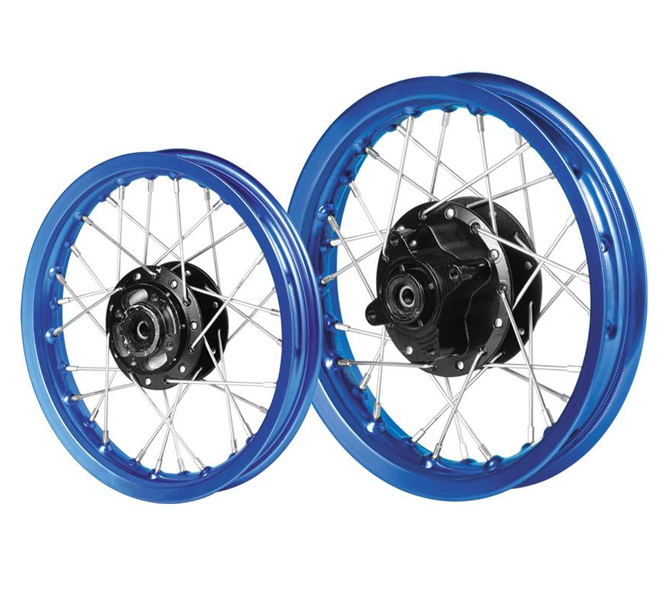 Motorbike alloy wheels or steel wheels