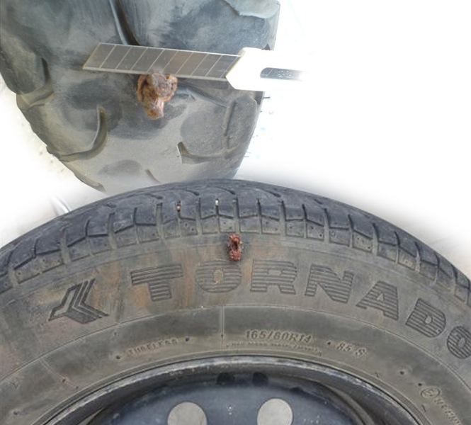 side and bottom punctures in broad tyres