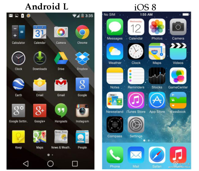 Android L and iOS 8 UI