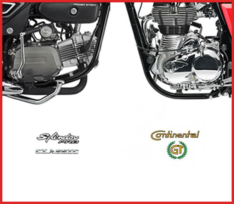 RE Continental GT vs Hero Splendor pro classic engine compare