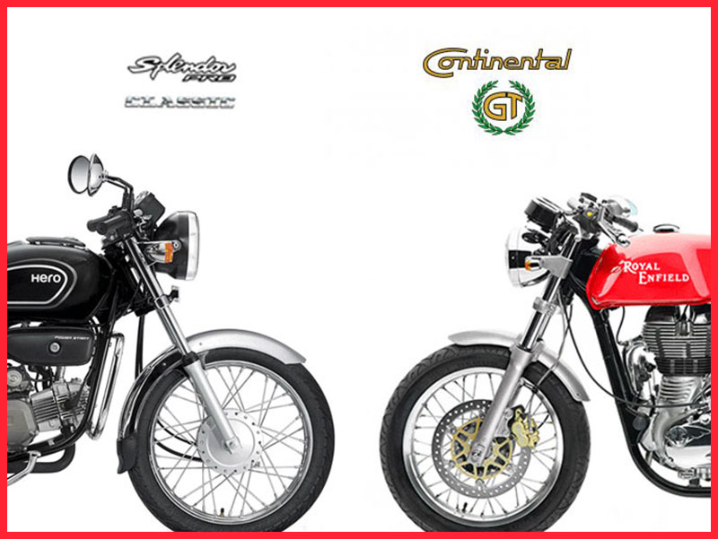 RE Continental GT vs Hero Splendor pro classic front compare