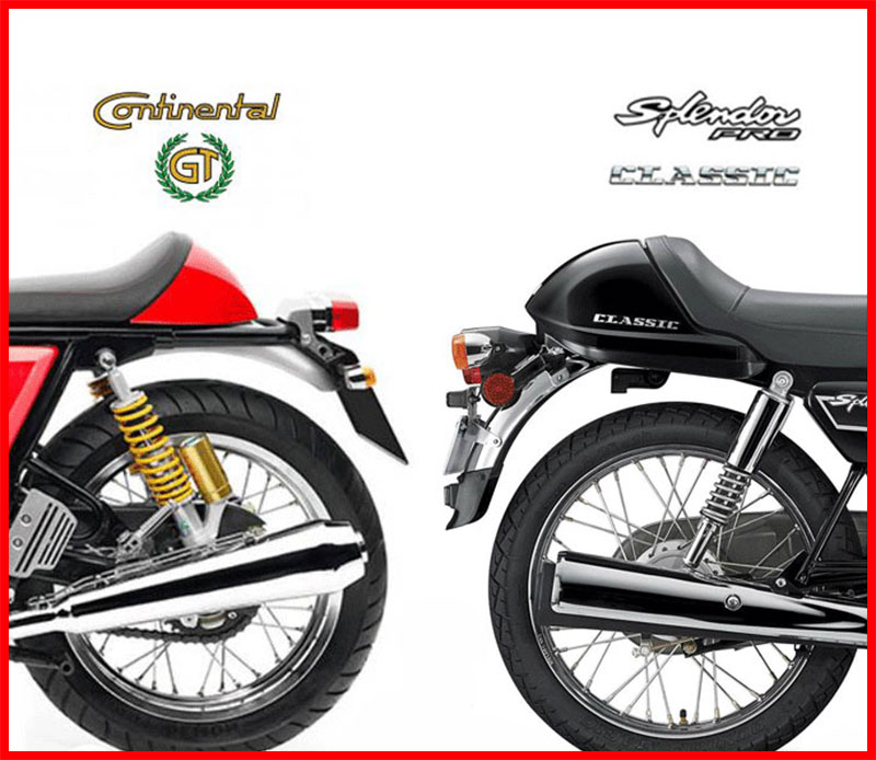 RE Continental GT vs Hero-Splendor pro classic rear compare