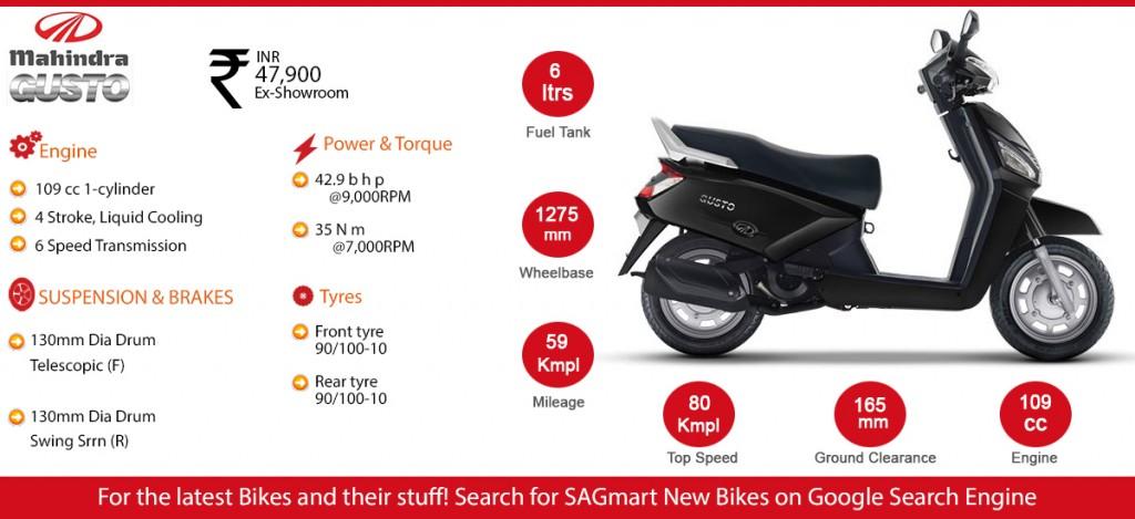 mahindra bike gusto infographic