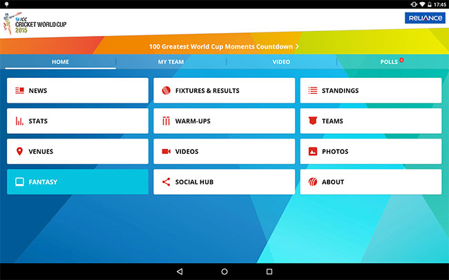 ICC CWC 2015 Official App