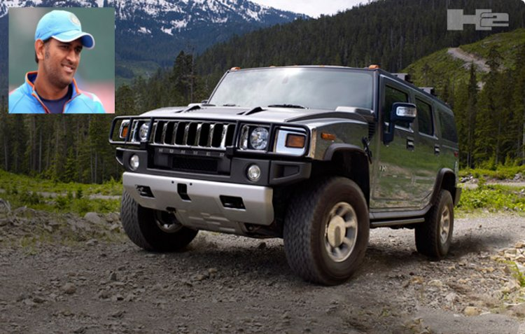 M.S. Dhoni and Hummer H2