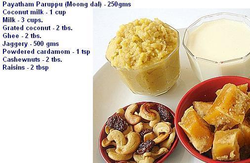 ParippuPayasamIngredients