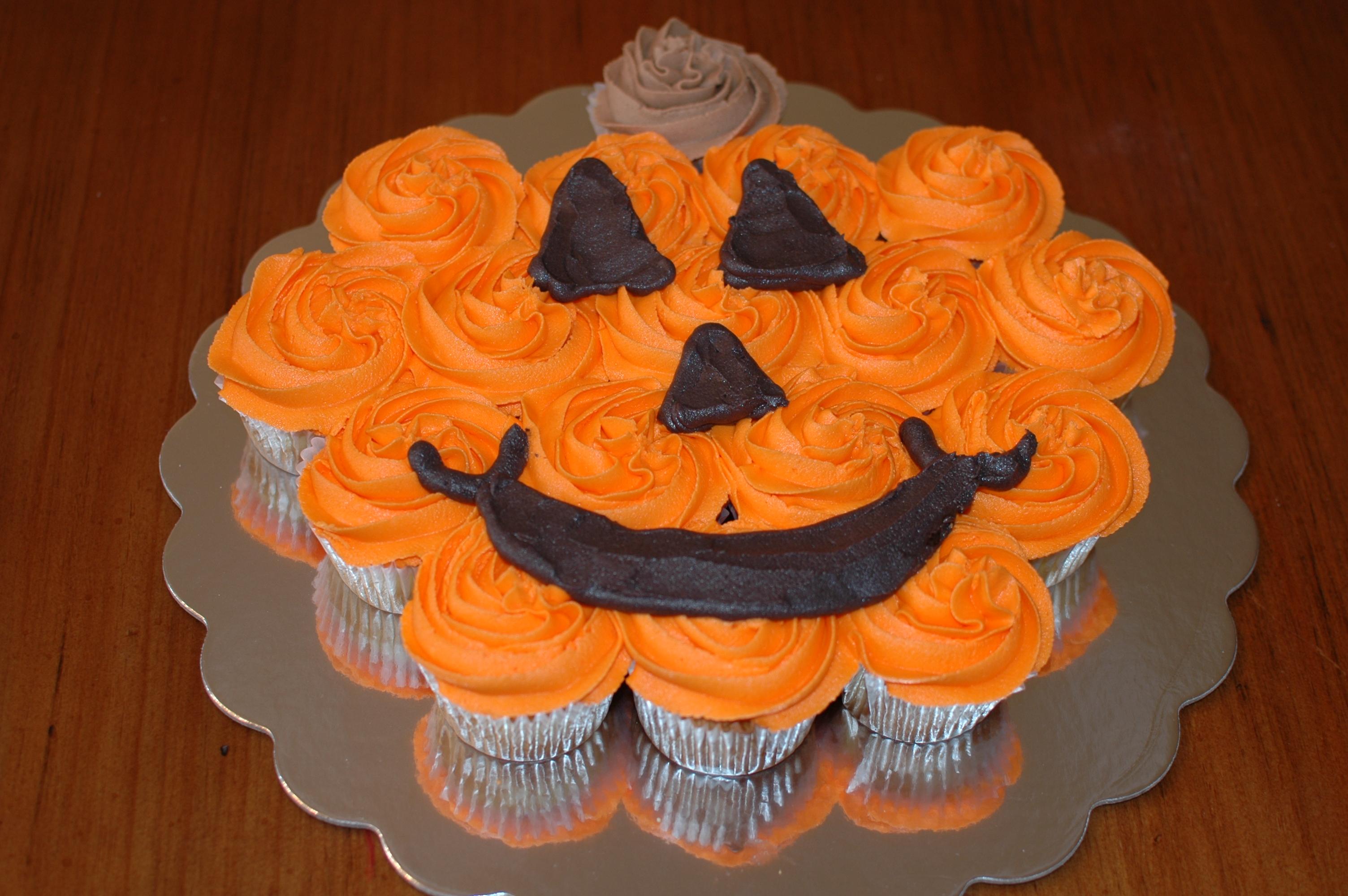 Pumpkin Shaped Cupcake Cake