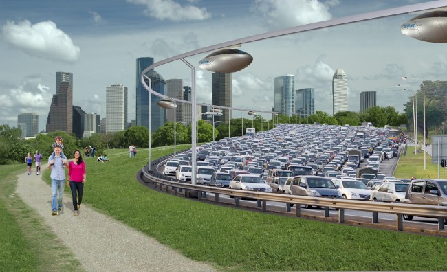 SkyTran Moving above a swarm of cars
