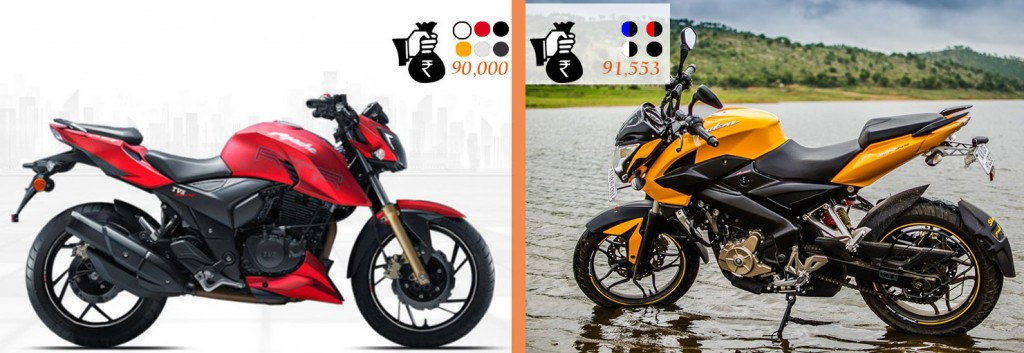 Apache 200 4V VS Pulsar 200NS Price & Color