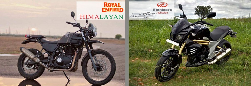 royal enfield himalayan and mahindra mojo deign and look