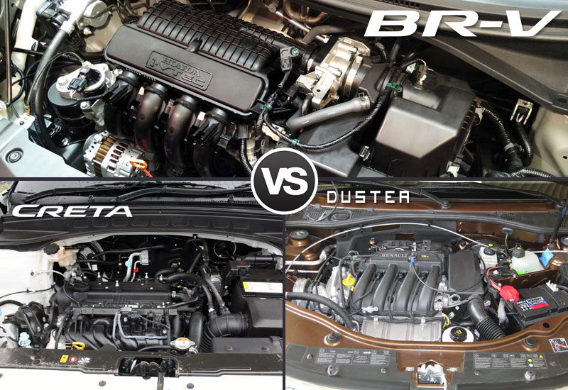 Honda BR V-VS Hyundai Creta VS Renault Duster Engine Camparison