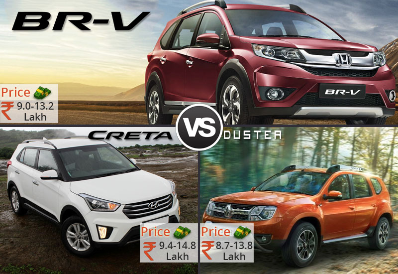 Honda BR V-VS Hyundai Creta VS Renault Duster Price Comparison
