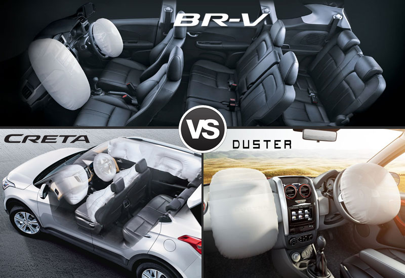 Honda BR V-VS Hyundai Creta VS Renault Duster Safety Camparison