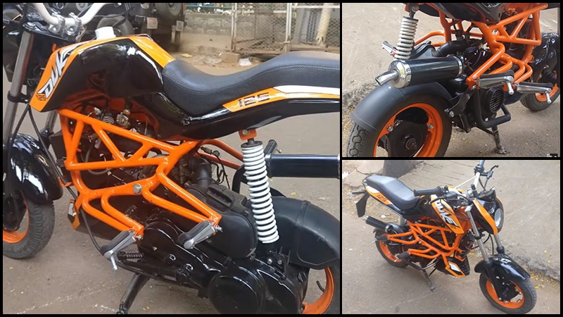 TVS Scooty Pep+ Dresses in KTM Duke 125