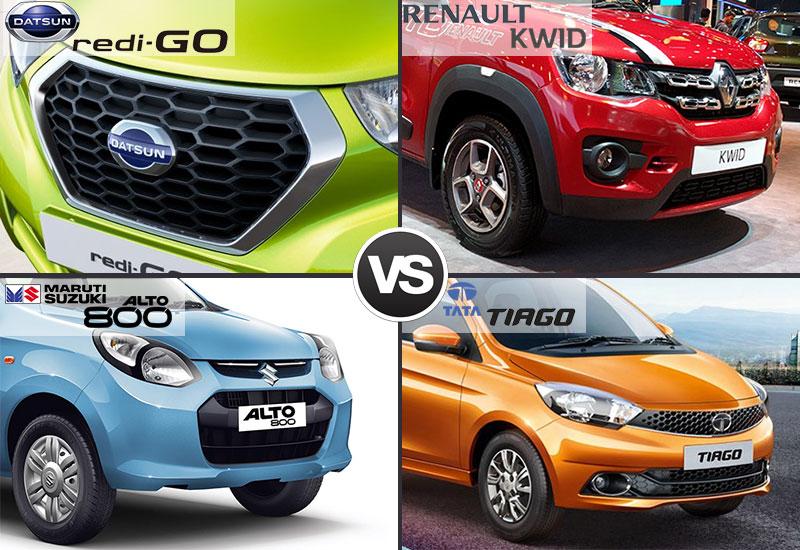 Datsun Redi Go vs Renault Kwid vs Maruti Alto 800 vs Tata Tiago Style and Design