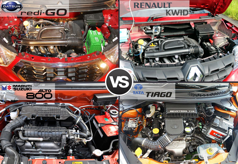 Datsun Redi Go vs Renault Kwid vs Maruti Alto 800 vs Tata Tiago Engine and Performance