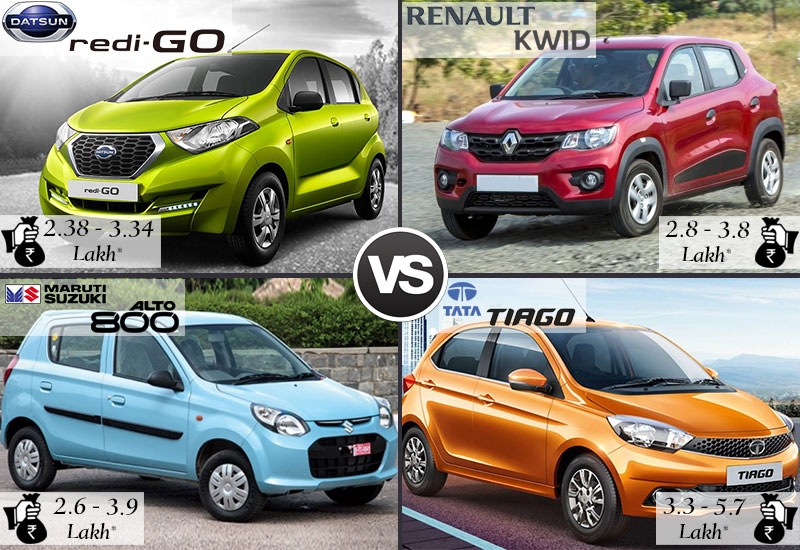 Datsun Redi Go vs Renault Kwid vs Maruti Alto 800 vs Tata Tiago Price and Colors