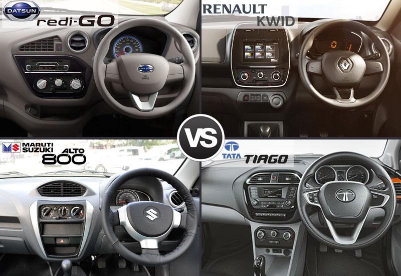 Datsun Redi Go vs Renault Kwid vs Maruti Alto 800 vs Tata Tiago Handling and Performance
