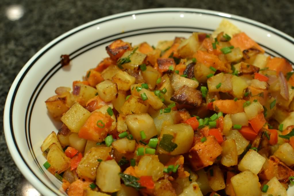 Yam, Celery Root, and Bacon Hash