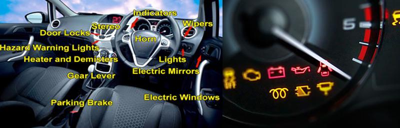 Car controls and warning lights