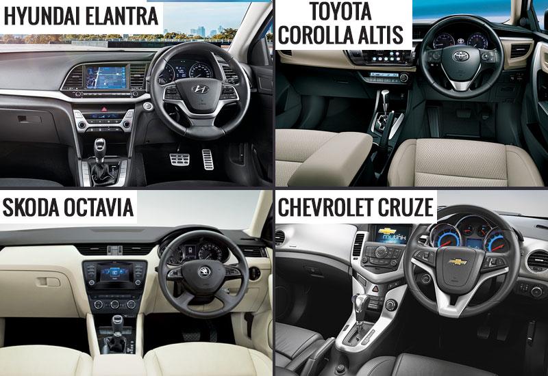 New Hyundai Elantra vs Toyota Corolla Altis vs Skoda Octavia vs Chevrolet Cruze Interior