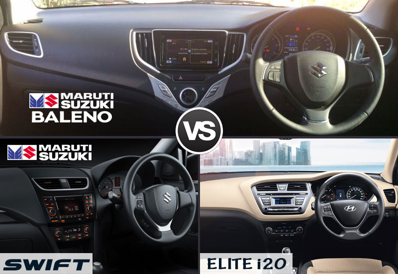 baleno-vs-swift-vs-elite-i20-interior