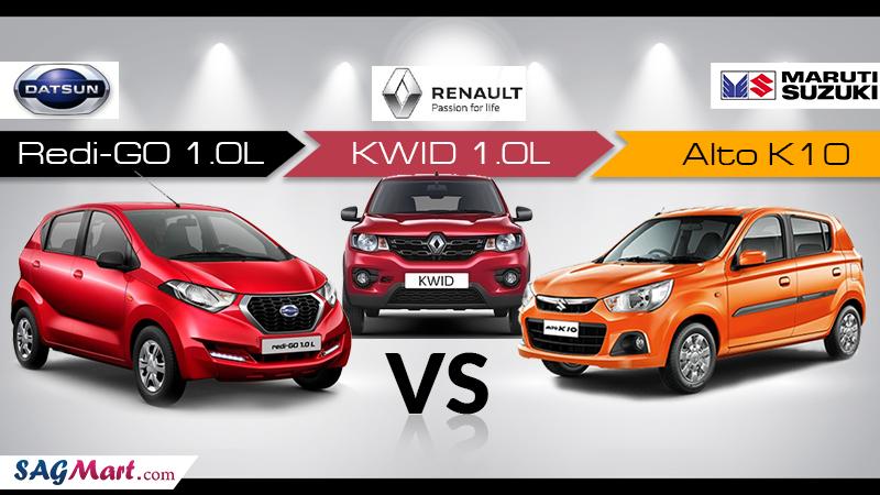 Compare Datsun Redi-Go 1.0L Vs Alto K10 Vs Kwid 1.0L