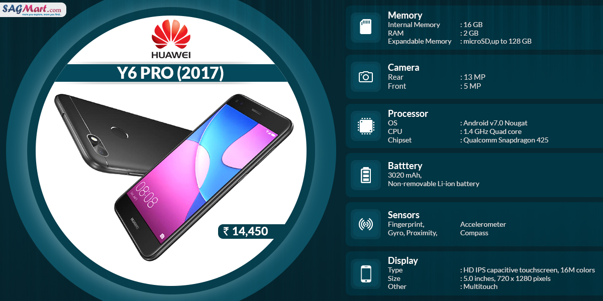 Huawei Y6 Pro (2017) Full Specifications- Infographic | SAGMart