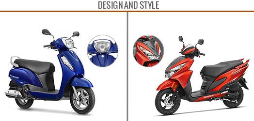 honda grazia 125 vs suzuki access 125 design and style