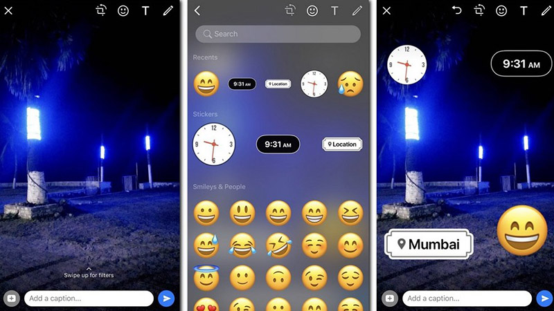 Share Whatsapp photos with location and time stickers