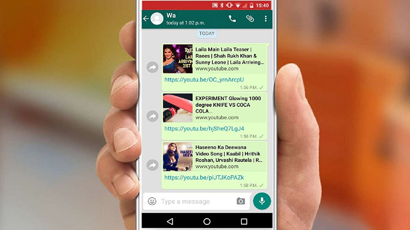 YouTube videos on WhatsApp