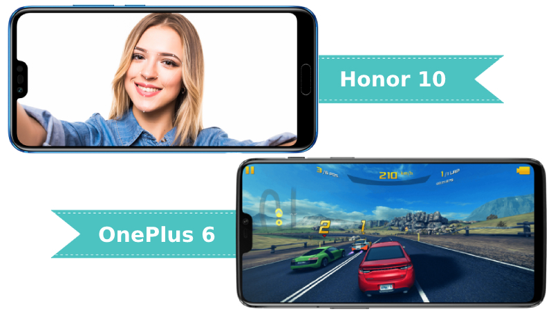 Honor 10 and OnePlus 6 Display