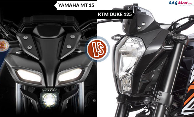 Yamaha MT 15 VS KTM Duke 125 Head Light
